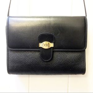 Christian Dior Crossbody Vintage Black Leather